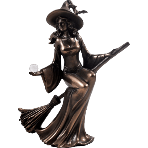 Witch Riding a Broom Cold Cast Bronze Sculpture